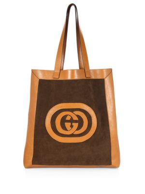 Suede Large Logo Tote