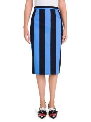 Striped Denim Pencil Skirt