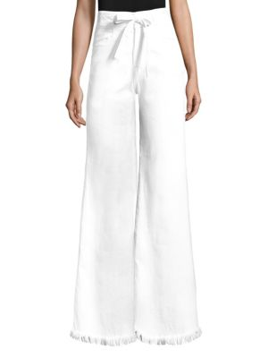 Le Palazzo Belted Wide-Leg Pants w/ Raw-Edge Frame Denim With Mastercard Sale Online Recommend Sale Online Outlet Store Sale Marketable X0S0vh