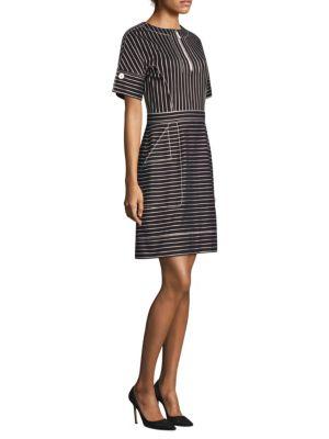Striped Zip-Placket Dress