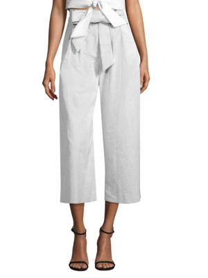 Seersucker Belted Pants