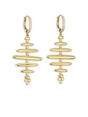 18K Gold & Diamond Large Hive Earrings