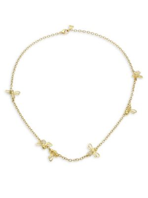 18K Gold & Diamond Bee Chain Necklace