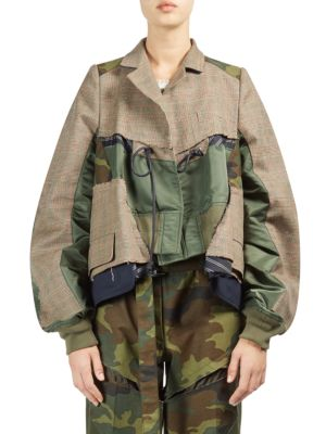 GLEN PLAID & CAMOUFLAGE PATCHWORK JACKET