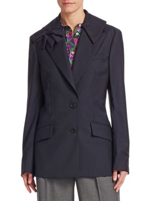 bow embellished wool mohair-blend blazer
