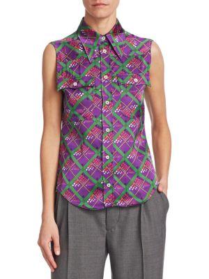 Printed Silk Sleeveless Blouse