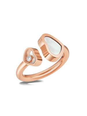 Happy Hearts 18K Rose Gold, Diamond & Mother-Of-Pearl Ring