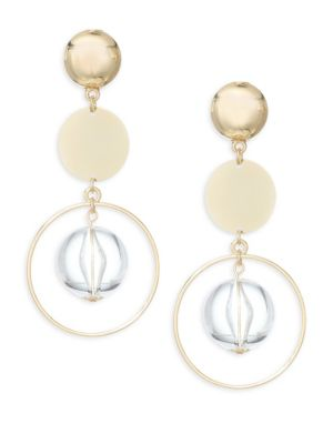 Beaded Disc Drop Earrings