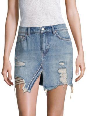 We The Free Relaxed & Destroyed Denim Miniskirt
