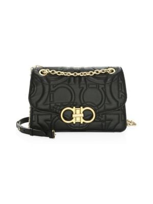 Large Quilted Flap Leather Crossbody Bag