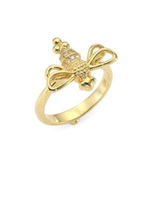 Diamond & 18K Gold Resting Bee Ring