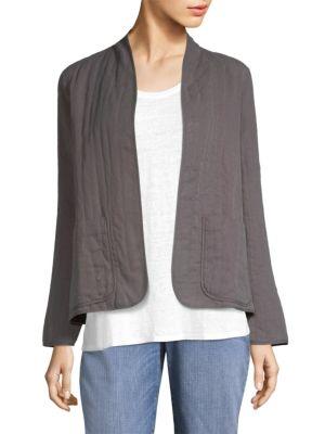 High Collar Slub Quilted Jacket