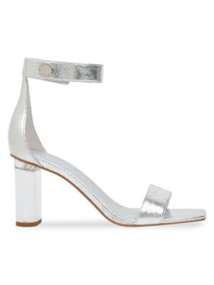 Metallic Leather Ankle Strap Sandals