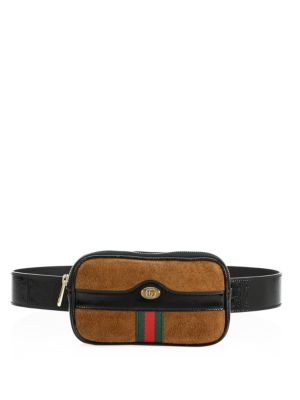 OPHIDIA TEXTURED LEATHER-TRIMMED PRINTED COATED-CANVAS BELT BAG