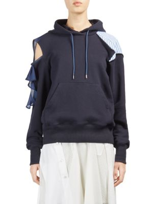 Deals For Sale Sacai deconstructed cold shoulder hoodie Outlet Pictures Cheap Sale Purchase 88Mvd9qIU