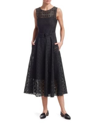 SLEEVELESS FIT-AND-FLARE LACE MIDI DRESS