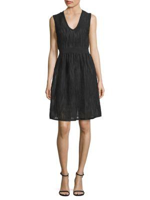 Rib-Stitch Mesh Fit-&-Flare Dress