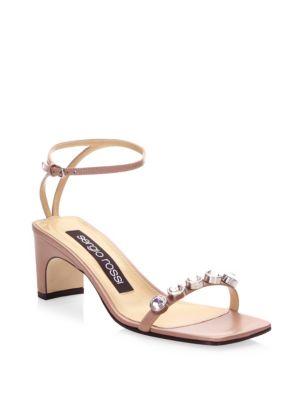 Embellished Leather Ankle-Strap Sandals