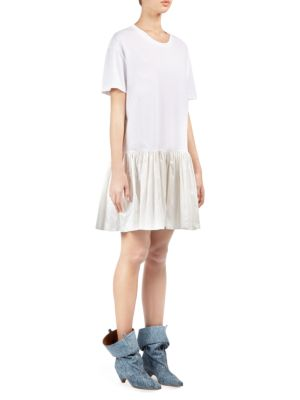 Taffeta Ruffle Hem T-Shirt Dress