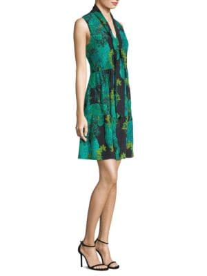 Printed Sleeveless Silk Dress