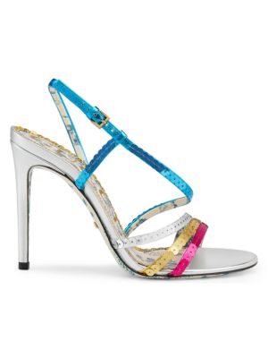 Haines Leather Multi Color Sequin Sandals by Gucci