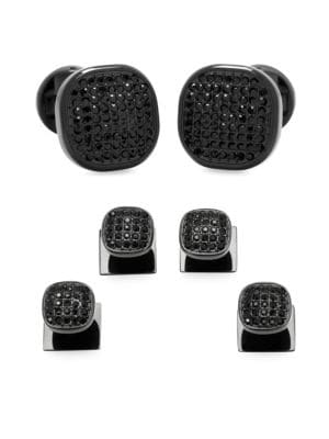 Pavé Crystal and Stainless Steel Cufflinks