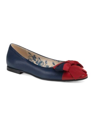 Leather Ballet Flats With Web Bow