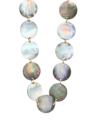 Long Grey Mother-of-Pearl Disc Necklace