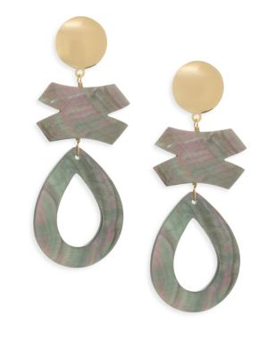 Gray Mother-of-Pearl Clip-on Earrings