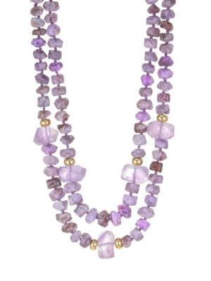 Purple Agate and Amethyst Necklace