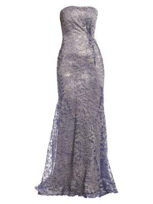 RENE RUIZ Strapless Floral Gown