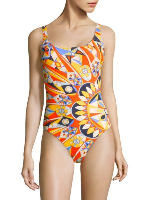 Geometric-Print Swimsuit