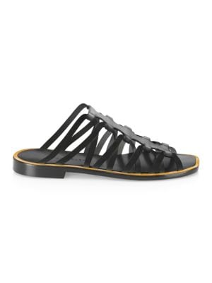 Strappy Leather Slides