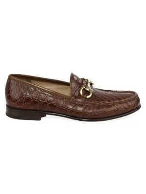 Bond Croc-Embossed Leather Loafers