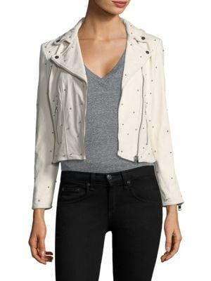 LAMARQUE PIPER STUDDED LAMB LEATHER MOTO JACKET