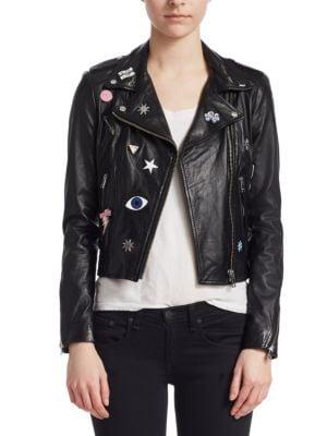 LAMARQUE Donna Rock Patch Moto Jacket