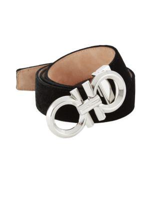 Adjustable Velvet Gancini Buckle Belt