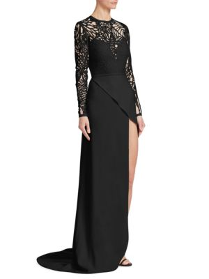 Cut-Out Wrap-Skirt Gown
