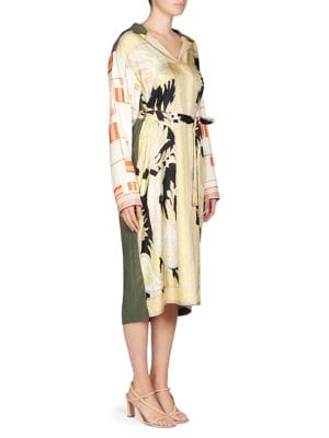 Scarf Print Silk Shirt Dress