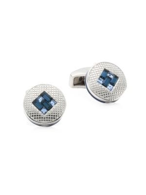 Montana Crystal and Light Sapphire Interlock Cufflinks
