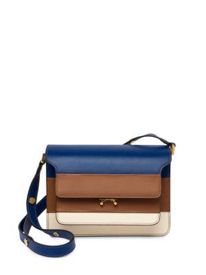 Colorblock Leather Shoulder Bag