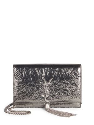 MONOGRAM KATE CRINKLED METALLIC TASSEL WALLET ON CHAIN