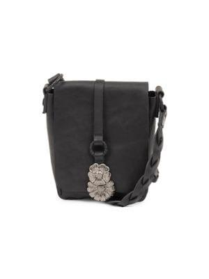 Leather Flower Besace Crossbody Bag