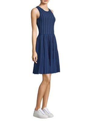 Pleated Dot Flare Dress