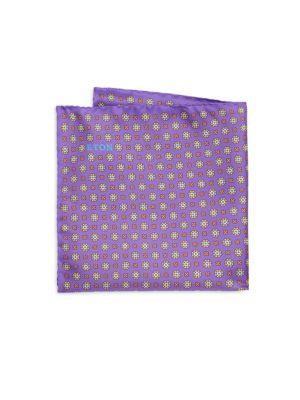 Purple Floral Medallion Pocket Square