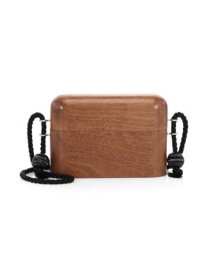 Rope Strap Wooden Minaudiere Bag