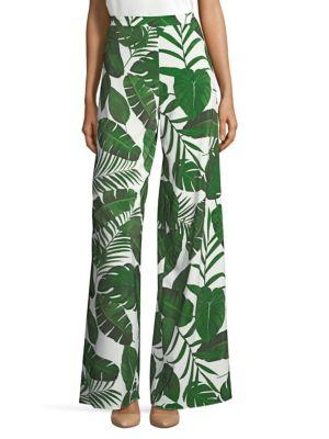 Athena Leaf Print Wide Leg Pants
