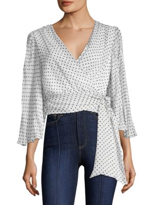 ALICE + OLIVIA BRAY PLEATED-SLEEVE CROPPED WRAP TOP