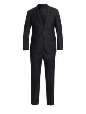 Black Solid Super 130s G Line Suit