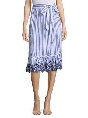 DRAPER JAMES | Stripe Eyelet Midi Skirt | Goxip